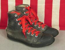 VINTAGE 1940s Converse Chuck Taylor Negro Lona Fútbol Zapatillas Césped Zapatos