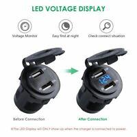 12V 24V Motorcycle Car 4.2A Dual USB Charger Socket Voltage Voltmeter Waterproof