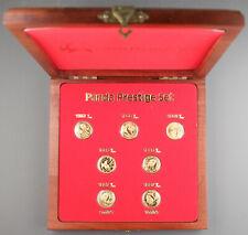 CHINA 1982-1987 1/10 Oz GOLD PANDA 7 Coin Sealed in OMP GEM BU Prestige Set +BOX