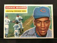 1956 Topps #15 Ernie Banks HOF White Back EX- HAS SLIGHT CREASE - CUBS