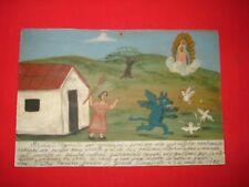 Retablo Ex voto Chupa Cabra Chases My Chickens as Meals Mexican Folk Art
