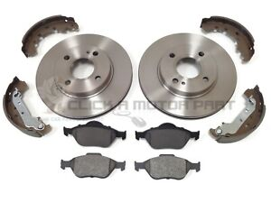 FORD FUSION 2002-2012 FRONT 2 BRAKE DISCS AND PADS & REAR BRAKE SHOES SET NEW