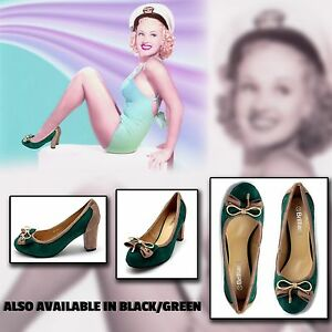 1930s 1940s shoes Green Brown with heels 2 tone bow art deco 2 3 4 5 6 7 8 new