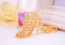 Gold High Heeled Shoe Women Boots Shaped Bag Charms Handbag Keyrings Pendant