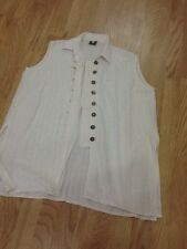Women's Size Large Cream Sleeveless Long Waistcoat / Jacket