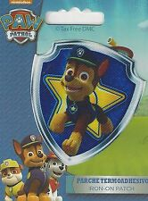 VAT Free Iron On Printed Motif Patch Paw Patrol Ryder Pups Chase Shield New
