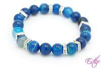 Handmade Semi Precious Stone Bracelet Blue Agate Stone Beads Mother's Day Gift