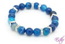 Fatto A Mano Semi Preziosi Bracciale in pietra pietra Agata Blu Perline Festa della mamma regalo