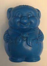 Vintage Plastic Blow Mold Pig Blue Piggy Bank
