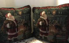 Christmas - A Pair Of Santa Tapestry Pillows