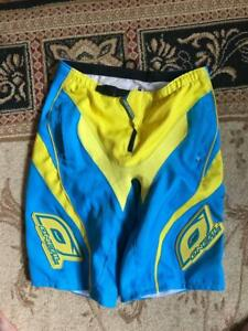 ONEAL ELEMENT FR MTB SHORTS SIZE 34 BMX RACING ADULT MENS YELLOW BLUE