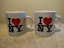 Sot of 2 I Love New York Coffee Cup White Ceramic Mug Souvenir