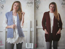 PATTERN ONLY. King Cole pattern 4723. Lady's Chunky Jacket & Waistcoat.