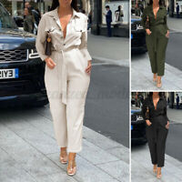 UK Women Long Sleeve Straight Jumpsuit Ladies Button Up Party Playsuit Size 8-26