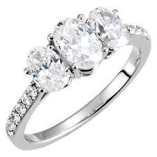 2.60 carat 3 Stone Oval Shape Diamond Wedding 14k White Gold Ring 1.10 ct center