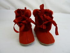 Vintage Baby Doll Red Felt Fringed Leather Sole Shoes