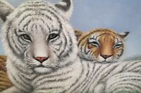 "Original Oil On Canvas Painting Signed Artist Watson 2 Bengal Tigers 41""L x 30"""
