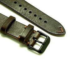 20mm Dark Brown Leather Classic Vintage Style Watch Strap Handmade Black Buckle