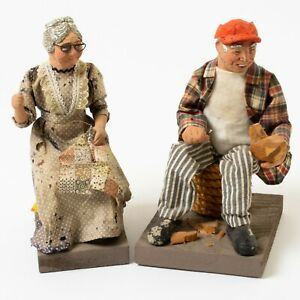 """Antique Folk Art Figurines Elderly Old Couple Whittling Man Sewing Woman 8"""""""