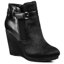 NEW Clarks Note Crisp Black Ankle Leather Wedge Boots - UK Size 6.5D