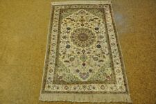 Rug For Sale Silk Tabriz Ivory - Off-White New Hand-Knotted Carpet 3x5