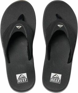 Reef Fanning Black Silver Mens Thongs