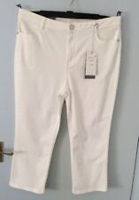 Ladies M&S Per Una Roma Cotton Embellished Crop Jeans -White-UK14-BNWT