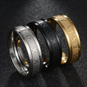 2021 Vintage Roman Numerals Men Rings Fashion 6mm Stainless Steel Rings Jewelry