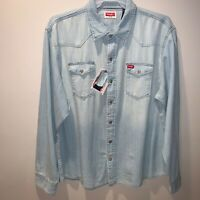 NEW Men's Wrangler Long Sleeve Bleached Denim Shirt Slim Fit Size 2XL