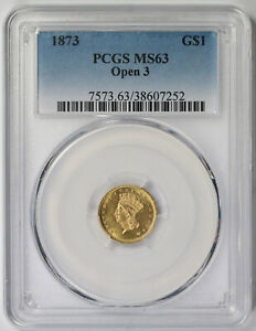 1873 Open 3 Indian Princess Large Head Gold Dollar $1 MS 63 PCGS