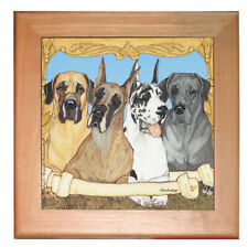 """Great Dane Dog Kitchen Ceramic Trivet Framed in Pine 8"""" x 8"""""""
