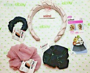 Scunci Set 3 Scrunchies Dusty Rose 5 Inch Headband & Floral Bendini Clip
