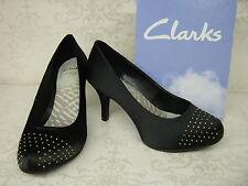 Clarks Drum Time Dark Black Satin Fabric Smart Court Shoes UK 5.5 EU 39