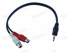12 Inch 3.5MM Male To 2 RCA Female Jack Stereo Audio Cable Y Adapter(3S1-2R2)