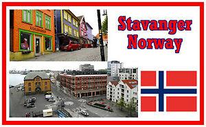 STAVANGER, NORWAY - SOUVENIR NOVELTY FRIDGE MAGNET - SIGHTS / FLAG / NEW / GIFTS