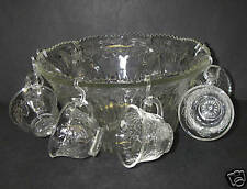 17 pc Indiana Glass PRINCESS Clear Punch SET Bowl Cup with Box