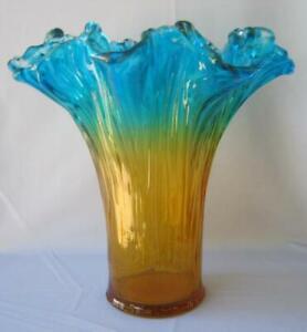 Genuine Italian Art Deco Glass Vase Turquoise Orange Tammaro Italy Murano No 689