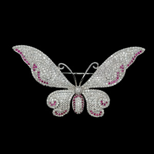 1 PC 40x74mm Butterfly Shape Fuchsia Cubic Zirconia Pave Brooch Pin For Women