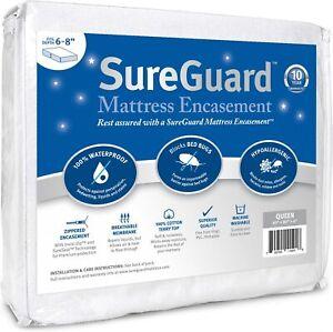 QUEEN (6-8 in) SureGuard Mattress Encasement Waterproof Zippered Six-Sided Cover