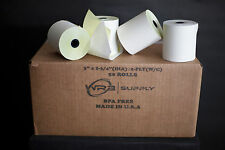 "2-ply 3"" inch 90' Feet (50 Rolls) Carbonless Register Bond Pos Paper Rolls"