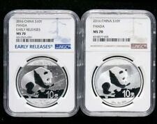 """2016 China 10 Yuan Panda Silver 1 OZ NGC MS70 """"Early RELEASES"""" 2 Pieces"""