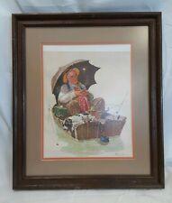 Norman Rockwell Vintage Wood Framed Canvas Artwork Old Man & Dog Asleep Fishing
