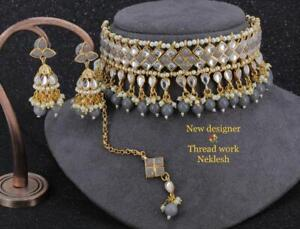 Gold Plated Bollywood Choker Kundan Necklace Indian Fashion AD Jewelry Gray