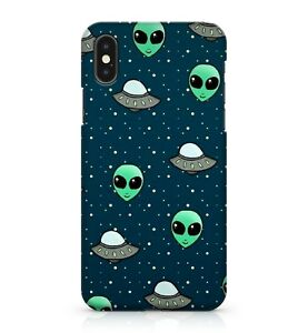 Green Alien Face UFO Spaceship White Polka Dot Galaxy Pattern Phone Case Cover
