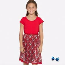 NWT Justice Girl Sz 10 12 Red Knit Plaid Sequined Belted Dress Christmas Holiday