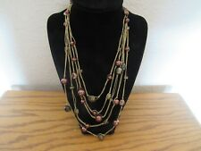 Coldwater Creek 5 gold thread strand beaded necklace Browns/copper color