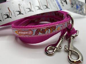 Rogz Multipurpose Adjustable Reflective Dog Lead BNWT 1.8m Pink Surfer