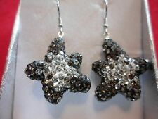 Dangle Earrings in 925 Stering Silver Black & White Austrian Crystal Star Shaped