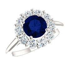 1.50 CT Diana Gemstone Diamond Rings Fine 14K White Gold Ring Size O M N P J