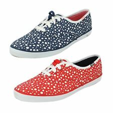 Ladies Keds red dots and navy dots lace up canvas CH BUBBLE